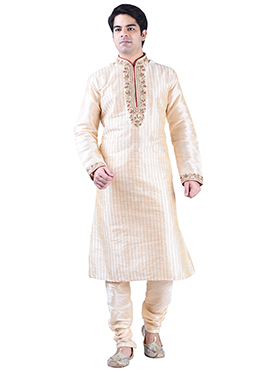 Art Dupion Silk Cream Kurta Pyjama