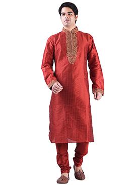Art Dupion Silk Deep Coral Red Kurta Pyjama