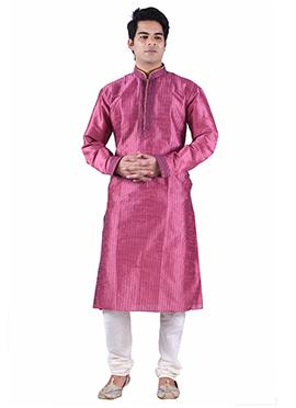 Art Dupion Silk Deep Pink Kurta Pyjama