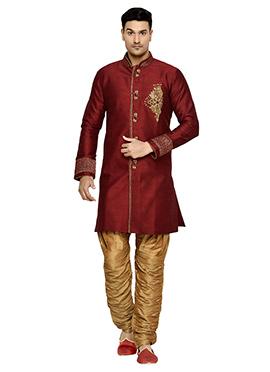 Art Dupion Silk Deep Red Indowestern Kurta Pyjama
