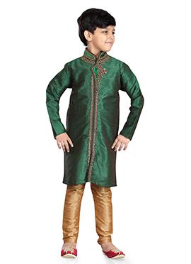 Art Dupion Silk Green Kids Kurta Pyjama