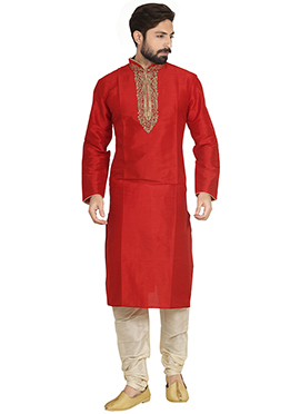 Art Dupion Silk Red Kurta Pyjama