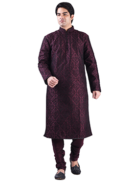 Art Dupion Silk Wine Foliage Design Kurta Pyjama