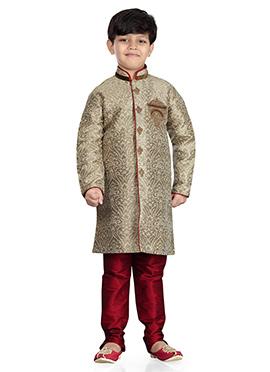 Art Silk Beige Jacquard Kids Kurta Pyjama