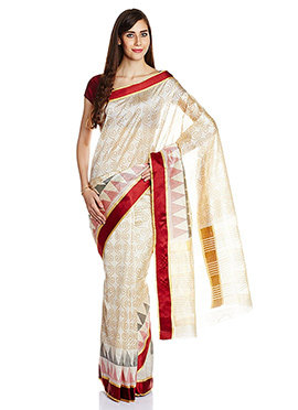 Art Silk Cream Printed Saree