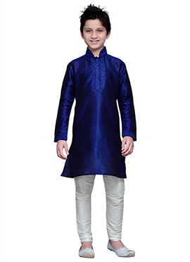 Art Silk Dark Royal Blue Boys Kurta Pyjama