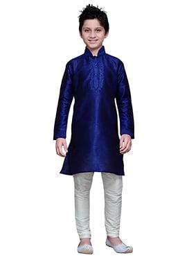 Art Silk Dark Royal Blue Boys Kurta Pyjama ... 3d96276bb