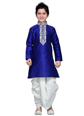 Art Silk Dark Royal Blue Embroidered Boys Dhoti Kurta