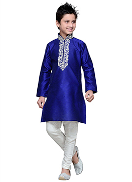 Art Silk Dark Royal Blue Embroidered Boys Kurta Pyjama