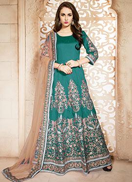 Art Silk Embroidered Floor Length Anarkali Suit