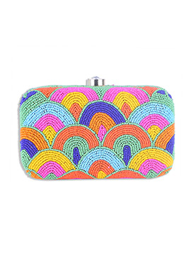 Art Silk Multicolored Beads Embellished Box Clutch