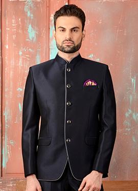 Art Silk Navy Blue Bandhgala Jacket