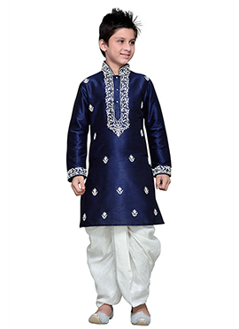 Art Silk Navy Blue Embroidered Boys Dhoti Kurta