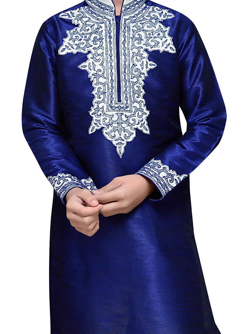 1987bb218 Buy Art Silk Navy Blue Embroidered Boys Kurta Pyjama, Embroidered ...
