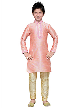 Art Silk Peach Boys Kurta Pyjama