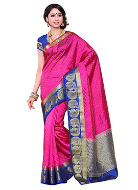 Art Silk Pink Saree