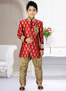 Art Silk Maroon Breeches Style Kids Sherwani