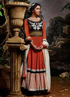 Asin Orange Anarkali Suit