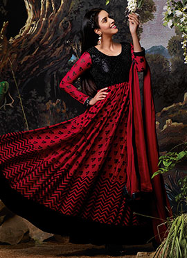 Asin Red N Black Anarkali Suit