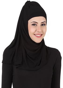 Asna Black Jersey Rayon Hijab