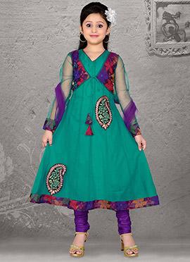 Attractive Green Net Teens Anarkali Suit
