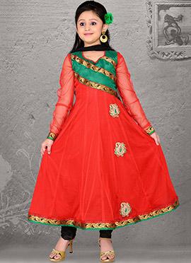 Awe Inspiring Red Net Teens Anarkali Suit