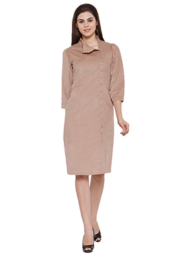 Ayaany Beige Blended Cotton Dress