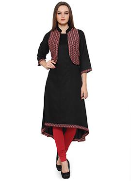 Ayaany Black Asymmetrical Jacket Style Kurti