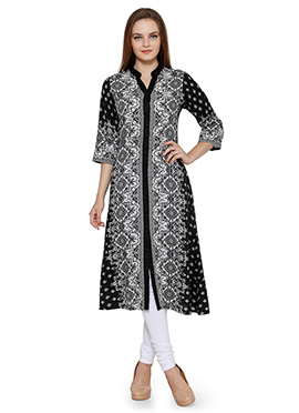 Ayaany Black Cotton Knee Length Kurti