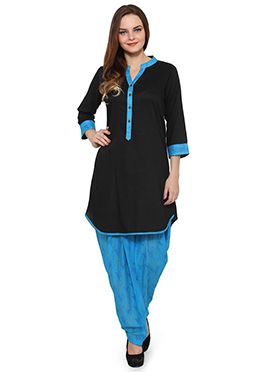 Ayaany Black Viscose Patiala Suit