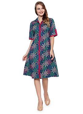 Ayaany Blue Floral Printed Dress