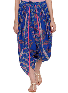 Ayaany Blue Georgette Dhoti Pant