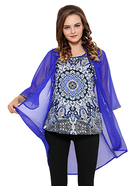 Ayaany Blue N Black Jacket Style Top