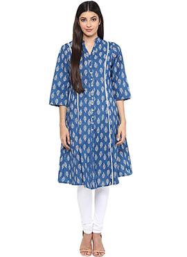 Ayaany Blue N White Cotton Printed Anarkali Kurti