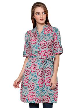Ayaany Cream Shade Floral Printed Tunic