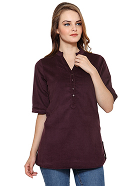 Ayaany Dark Purple Shade Blended Cotton Short Top