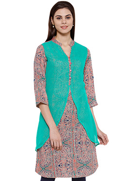 Ayaany Green N Multicolored Rayon Kurti