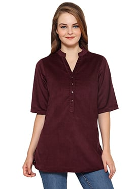 Ayaany Maroon Blended Cotton Short Top