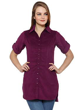 Ayaany Maroon Blended Cotton Tunic