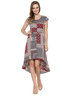 Ayaany Multicolored Printed Asymmetrical Dress