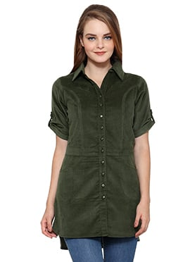 Ayaany Olive Green Blended Cotton Tunic