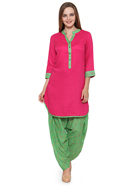 Ayaany Pink Viscose Patiala Suit