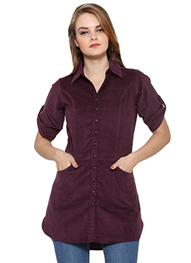 Ayaany Purple Blended Cotton Tunic