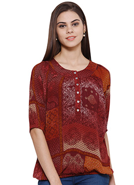 Ayaany Red Blended Cotton Top