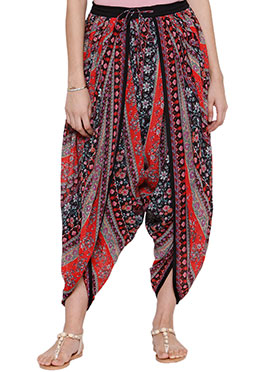 Ayaany Red Georgette Dhoti Pant