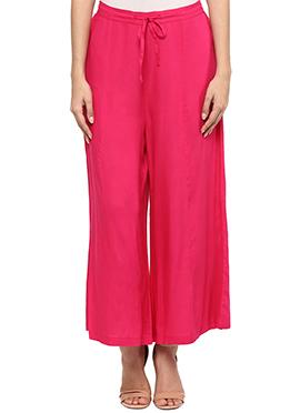 Ayaany Reddish Pink Cotton Palazzo Pant