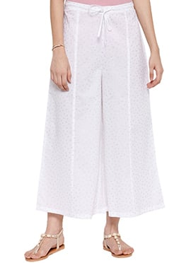 Ayaany White Blended Cotton Palazzo Pant