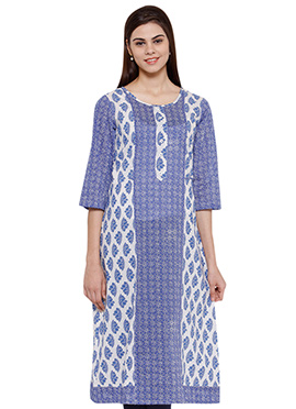 Ayaany White N Blue Blended Cotton Kurti