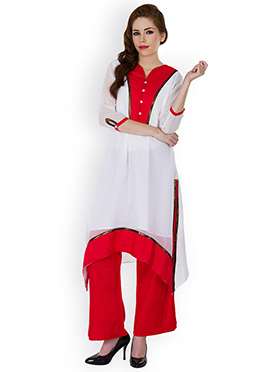 Ayaany White N Red Palazzo Suit