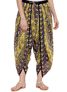 Ayaany Yellow Georgette Dhoti Pant